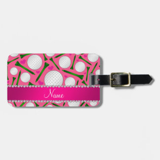 Personalized name pink golf balls tees hearts luggage tag