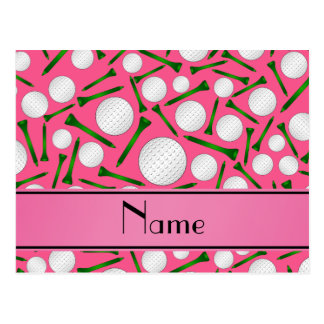 Personalized name pink golf balls tees postcards