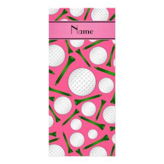 Personalized name pink golf balls tees rack card