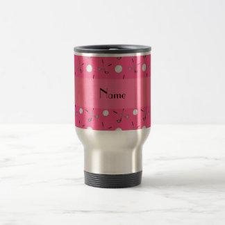 Personalized name pink golf balls travel mug
