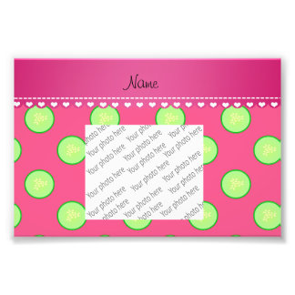 Personalized name pink green cucumber slice photographic print