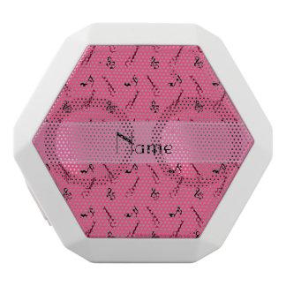 Personalized name pink guitar pattern white boombot rex bluetooth speaker