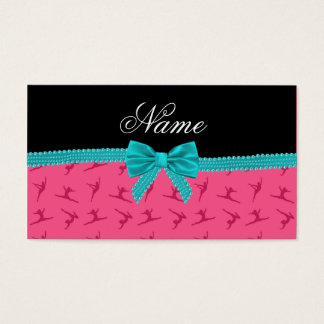 Personalized name pink gymnastics turquoise bow business card