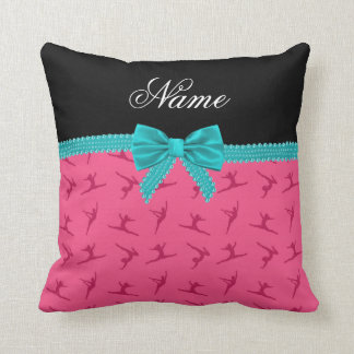 Personalized name pink gymnastics turquoise bow throw pillow
