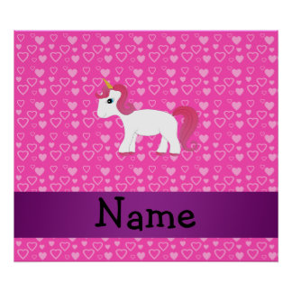 Personalized name pink hair unicorn posters