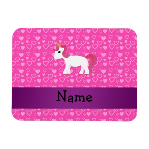 Personalized name pink hair unicorn vinyl magnets