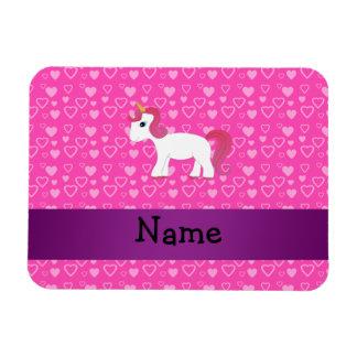 Personalized name pink hair unicorn rectangular photo magnet