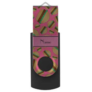 Personalized name pink hamburger pattern swivel USB 2.0 flash drive