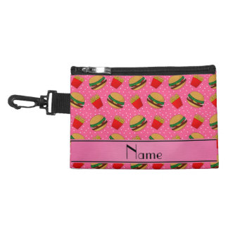 Personalized name pink hamburgers fries dots accessories bags