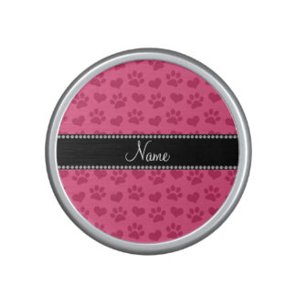 Personalized name pink hearts and paw prints speaker