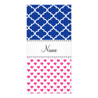 Personalized name pink hearts blue moroccan picture card