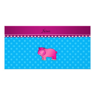 Personalized name pink hippo blue polka dots custom photo card