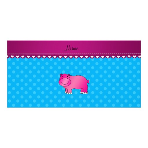 Personalized name pink hippo blue polka dots customized photo card