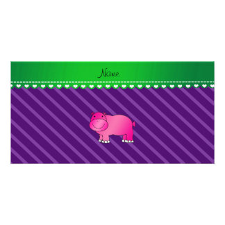 Personalized name pink hippo purple stripes personalised photo card
