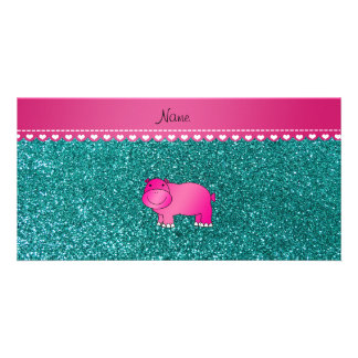 Personalized name pink hippo turquoise glitter customized photo card
