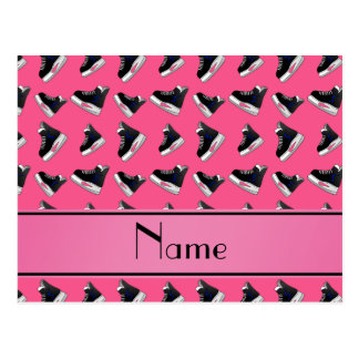 Personalized name pink hockey skates postcard