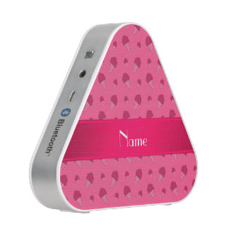 Personalized name pink ice cream pattern speaker