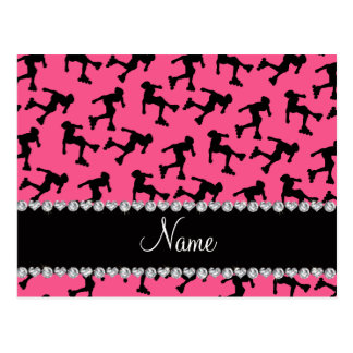 Personalized name pink inline skating postcard