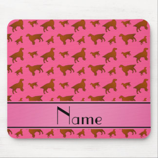 Personalized name pink irish setter dogs mouse pad