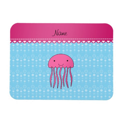 Personalized name pink jellyfish blue bubbles rectangle magnets