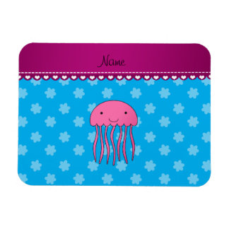 Personalized name pink jellyfish blue flowers magnet