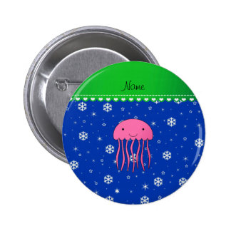 Personalized name pink jellyfish blue snowflakes 6 cm round badge