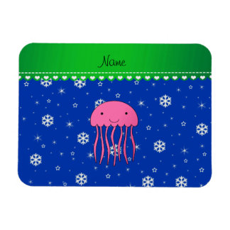 Personalized name pink jellyfish blue snowflakes rectangle magnet
