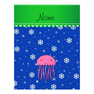 Personalized name pink jellyfish blue snowflakes flyer