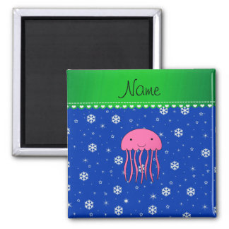 Personalized name pink jellyfish blue snowflakes magnet
