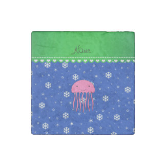 Personalized name pink jellyfish blue snowflakes stone magnet