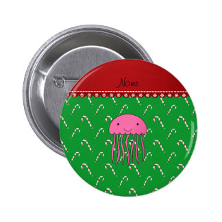 Personalized name pink jellyfish green candy canes 6 cm round badge