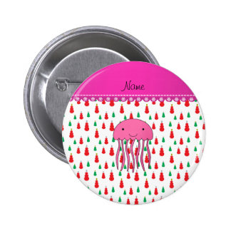 Personalized name pink jellyfish green red snowmen 6 cm round badge