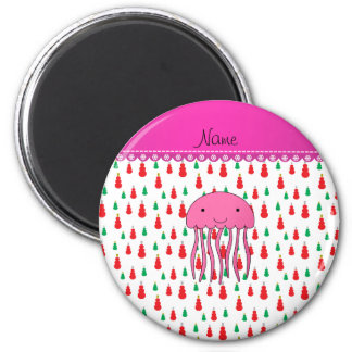 Personalized name pink jellyfish green red snowmen 6 cm round magnet