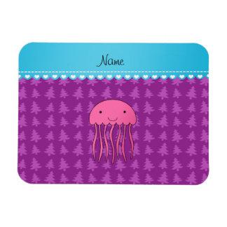 Personalized name pink jellyfish purple trees rectangular photo magnet