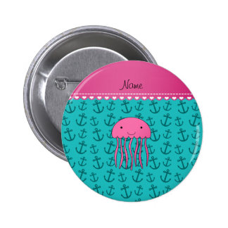 Personalized name pink jellyfish turquoise anchors 6 cm round badge