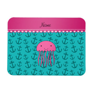 Personalized name pink jellyfish turquoise anchors magnet