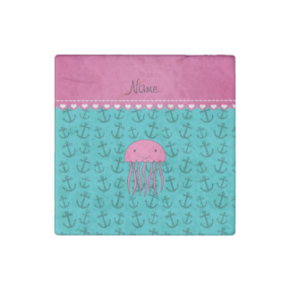 Personalized name pink jellyfish turquoise anchors stone magnet