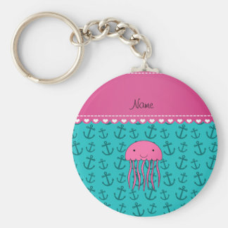 Personalized name pink jellyfish turquoise anchors key ring