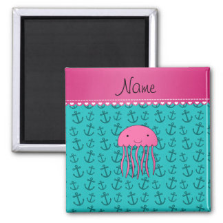 Personalized name pink jellyfish turquoise anchors refrigerator magnet