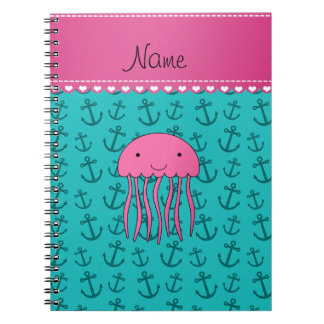 Personalized name pink jellyfish turquoise anchors spiral notebook