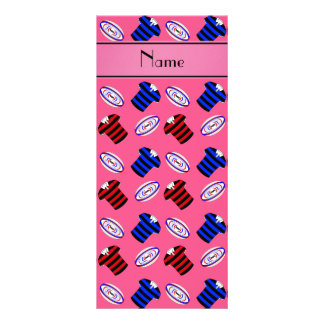 Personalized name pink jerseys rugby balls customized rack card
