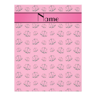 Personalized name pink justice scales 21.5 cm x 28 cm flyer