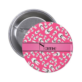 Personalized name pink karate pattern pinback buttons