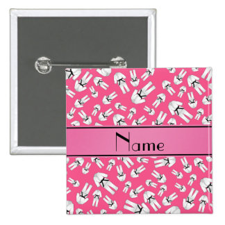 Personalized name pink karate pattern button