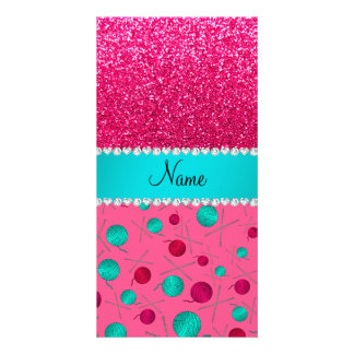 Personalized name pink knitting rose pink glitter custom photo card