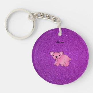 Personalized name pink koala purple glitter Single-Sided round acrylic key ring