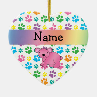 Personalized name pink koala rainbow paws christmas ornament