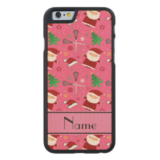Personalized name pink lacrosse christmas pattern carved® maple iPhone 6 case