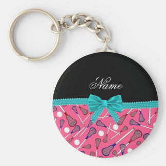 Personalized name pink lacrosse turquoise bow key ring