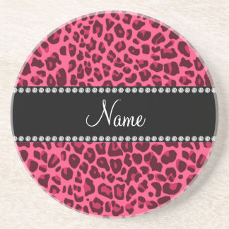 Personalized name pink leopard pattern coaster